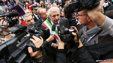 Mayor of Albano Laziale Nicola Marini during the demonstration at funeral location of Nazi War Criminal Erich Priebke on October 15, 2013 in Albano Laziale, Italy