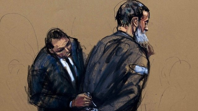 A courtroom sketch shows Nazih al-Ragye known by the alias Abu Anas al-Liby as he appears in Manhattan Federal Court for an arraignment in New York, October 15, 2013.