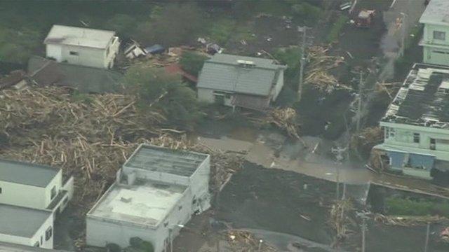 Typhoon destruction in Japan