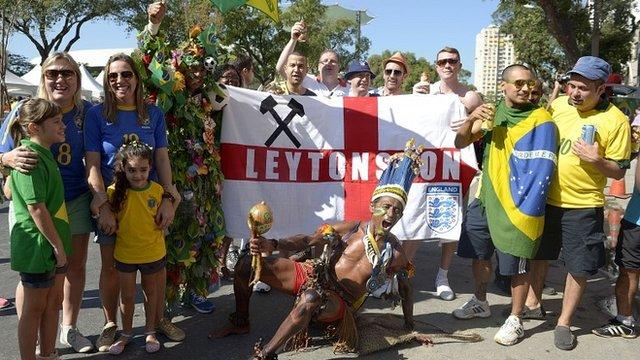 England and Brazil fans at the Maracana Stadium in Rio De Janeiro in 2013