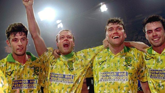 Norwich City celebrate win over Bayern