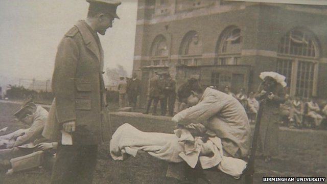 Soldiers being treated outside Birmingham University in WWI