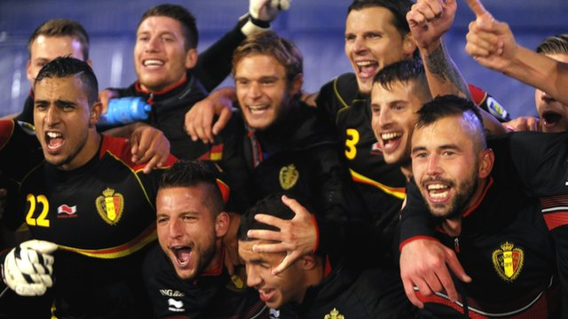 Belgium celebrate qualifying for 2014 World Cup