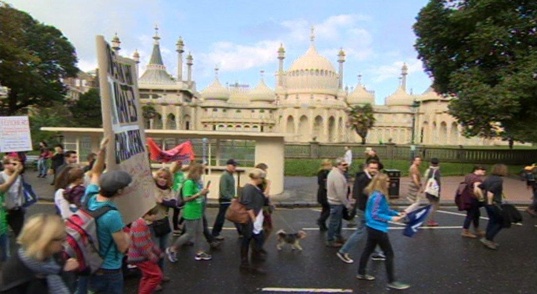 Striking teachers in Brighton