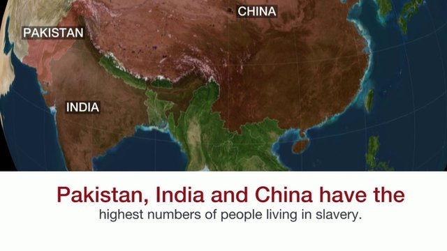 Map showing countries with a high number of people living in slavery