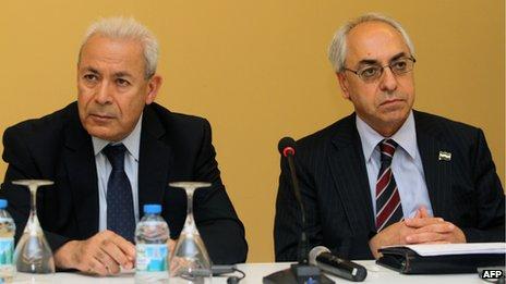 Burhan Ghalioun (L) and Abdelbaset Sayda (R) at a meeting in Istanbul 10 June 2012