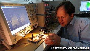 Professor Haas showing off his li-fi system