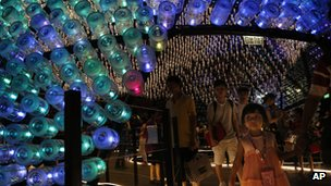 Recycled plastic bottles filled with LED lights