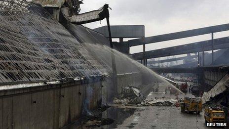 Sugar fire in the port of Santos