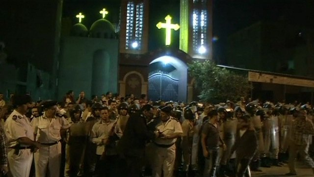 Crowds gathered outside the Coptic church in north Cairo