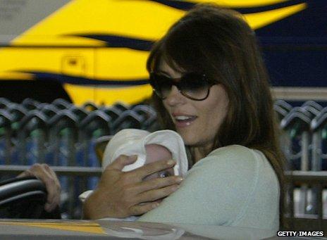 Liz Hurley with son Damian