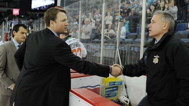 Sheffield Steelers boss Doug Christiansen and Belfast Giants coach Paul Adey.