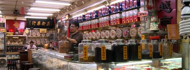 Wu Wei-tung at is Chinese medicine store in Taiwan