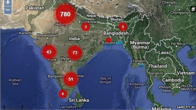 India's map on safecity.in
