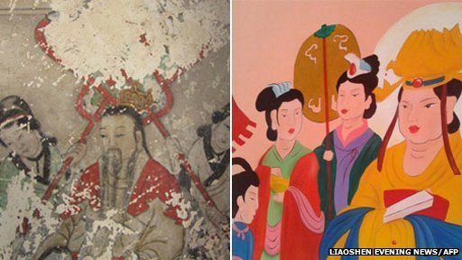 """Ancient Buddhist frescos in a temple in northern China before and after """"restoration"""""""