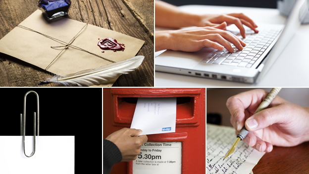 (clockwise from top left): sealed letter and quill; hands on computer keyboard; hand writing letter; hand posting postbox; paper clip