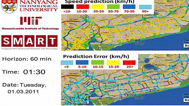 A computer screen predicting traffic flow