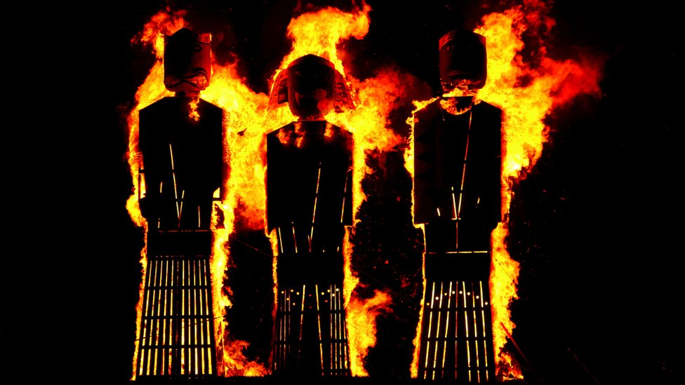 Effigies burn