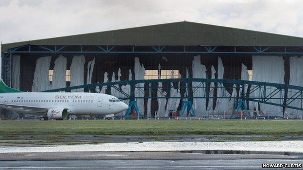 The weather has damaged construction work on the hangar at Bournemouth airport