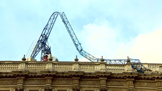 Storm brings down crane on Cabinet Office