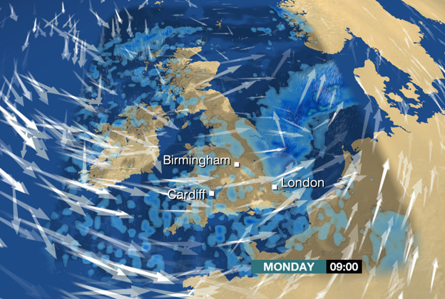 Forecast showing wind and rain over the UK at 09:00