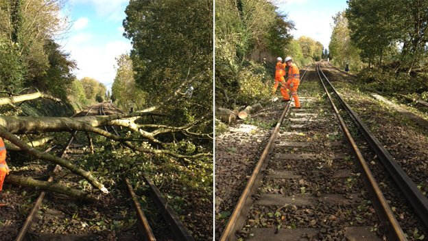 Workers have cleared the track at Alton in Hampshire, as this picture tweeted by South West Trains shows