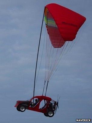 Maverick flying car in the air