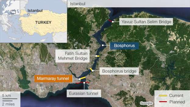 Map showing bridges/ tunnels across Bosphorus Strait