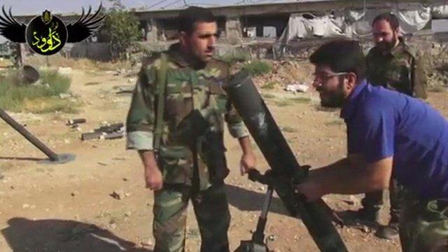 Still from Iranian footage filmed in Syria