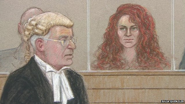Rebecca Brooks in the dock during the phone hacking trial