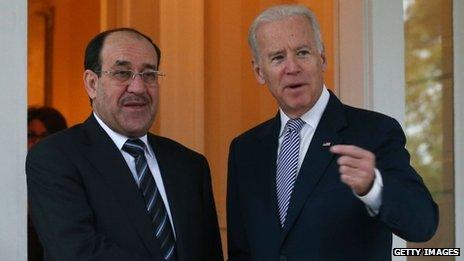 Vice-President Joseph Biden (right) welcomes Iraqi Prime Minister Nouri al-Maliki to Washington DC on 30 October 2013