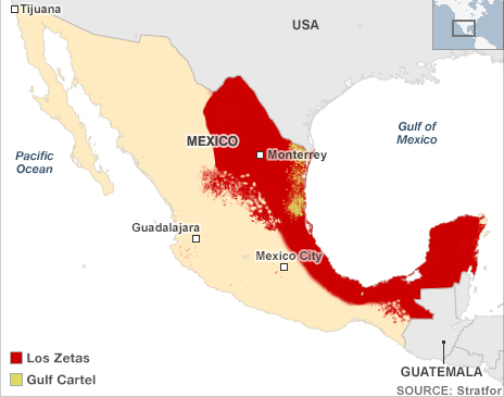 Map showing the areas of operation of Los Zetas and the Gulf cartel
