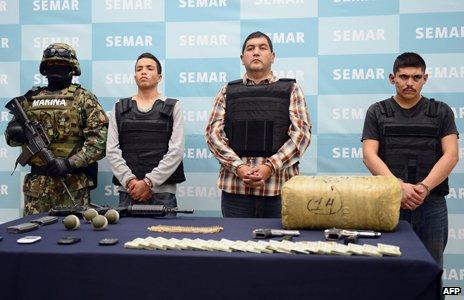 Captured members of the Los Zetas and Gulf Cartel gangs.