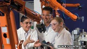 School children use machinery