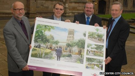 John Nicholls and Canon Peter Hobson from Leicester Cathedral with contractor Mike Cafferky and city mayor Peter Soulsby
