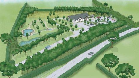 Artist's impression of the proposed crematorium in Denbighshire