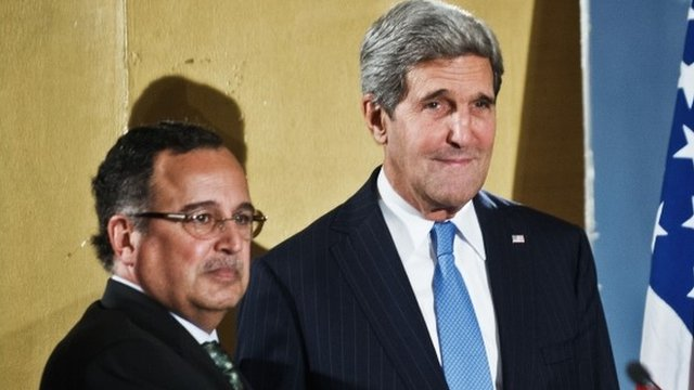 US Secretary of State John Kerry (R) shakes hands with Egyptian Foreign Affairs Minister Nabil Fahmy
