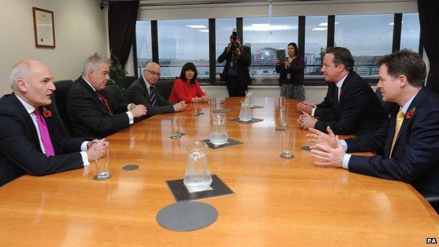Carwyn Jones meeting David Cameron