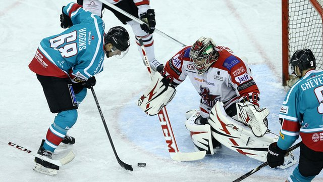 Action from Belfast Giants against Cardiff Devils at The Odyssey Arena
