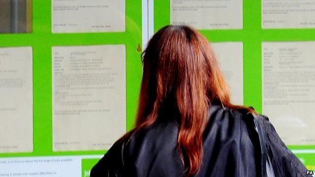 Woman at job centre