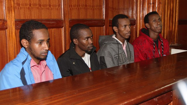 Men charged in connection with the Westgate mall massacre, from left to right: Mohammed Ahmed Abdi, Liban Abdullah, Adnan Ibrahim, and Hussein Hassan
