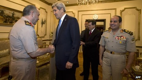 John Kerry meets members of the Egyptian military, including armed forces chief Gen Abdul Fatah al-Sisi in Cairo (3 November 2013)