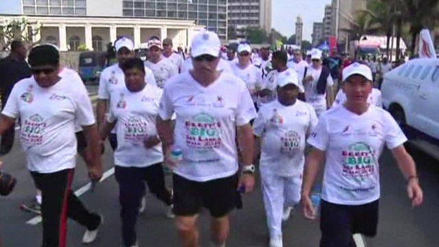 Sir Ian Botham walking in Sri Lanka for charity
