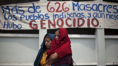 Ixil women gather protest in front of the constitutional court against the decision to annul the genocide conviction of Efrain Rios Montt on 24 May , 2013.