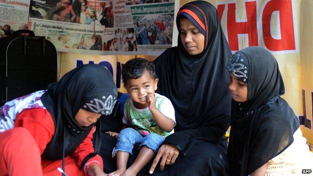 Jazeera V with her children in Delhi