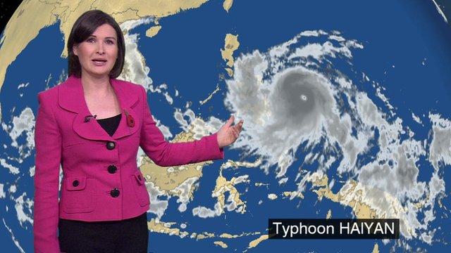 Helen Willetts shows the progress of Typhoon Haiyan