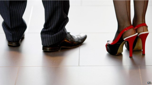 View of men and women's shoes