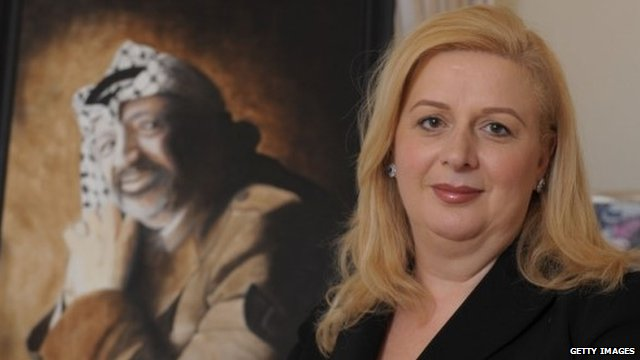 Suha Arafat with portrait of her late husband - file photograph