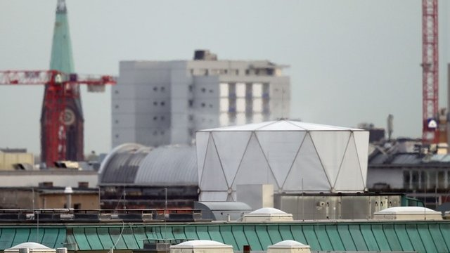The white structure on the British Embassy roof