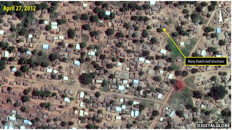 Imagery from April 2012 shows the Bouca area before the attack, which reportedly took place in September 2013.